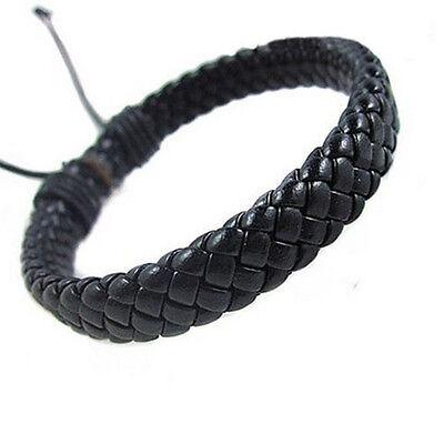 Men Unisex Leather Bracelet Bangle Cuff Rope Black Surfer Wrap Adjustable Cool