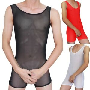 f31d0ff8b09c Men s Sexy Mesh Sheer See-through Leotard Bodysuit Boxer Undershirt ...