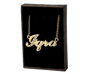 Image Is Loading Name Necklace 034 IQRA 18ct Gold Plated