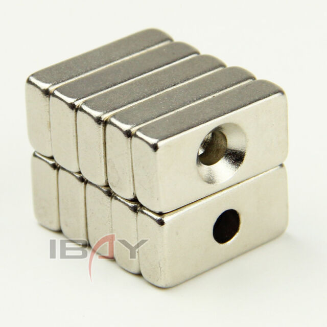 10PCS Block Countersunk Magnets 20mm x 10mm x 6mm Hole 3mm Rare Earth Neodymium