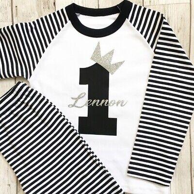 Personalised Silver Glitter 1st First Birthday Unisex Baby Grow Bodysuit