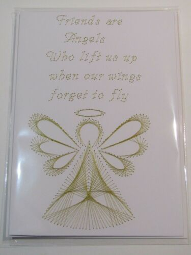 HANDMADE HAND STITCHED FRIENDS ARE LIKE ANGELS BIRTHDAY CARD