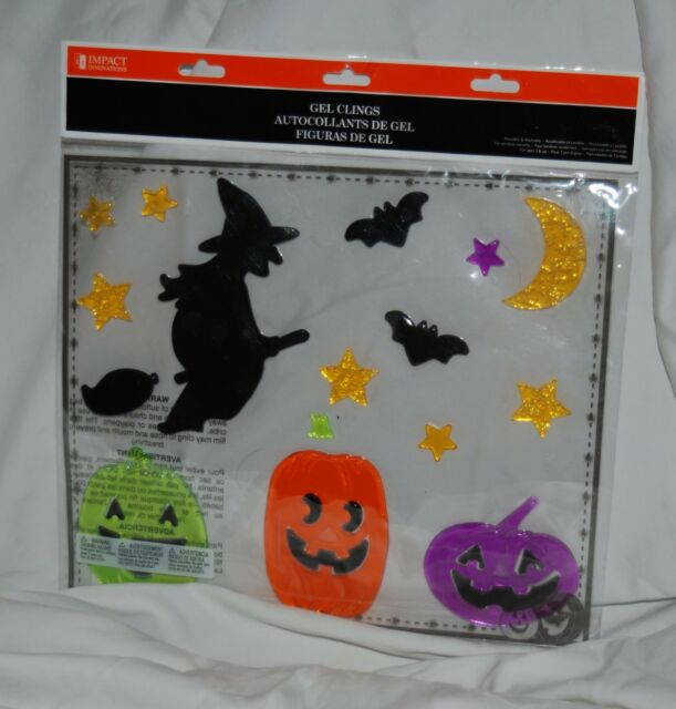WITCH PUMPKINS BATS HALLOWEEN MOON WINDOW GEL GELS CLINGS NEW PACKAGE