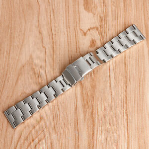 20mm 22mm Silver Stainless Steel Bracelet Wrist Band Men Watch Strap Replacement