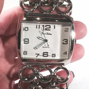 80s VTG FRED BELAY Over-Sized BRACELET Wrist Watch STAINLESS Chain Link as is