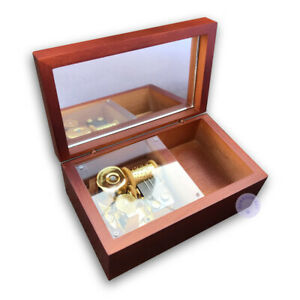 """Play /""""My Heart Will Go On/"""" Wooden Sankyo Vintage Music Box With a Jewelry Box"""