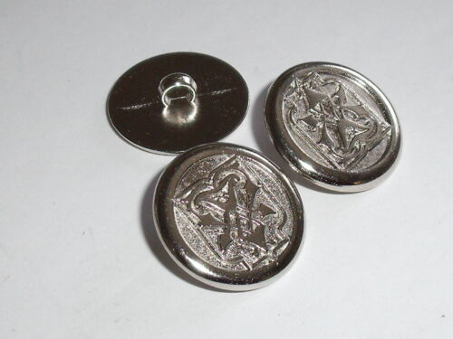 6 Stück Metallknöpfe Knopf Ösenknopf  20 mm silber NEUWARE rostfrei #628.2#