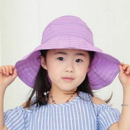 Girls Wavy Summer Sun Hats Polyester Solid Pattern Casual Style Cap For Children