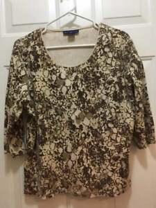 Women-039-s-KAREN-SCOTT-casual-Shirt-Size-XL-Scoop-Neck-3-4-sleeve-Top-BROWN-amp-TAN