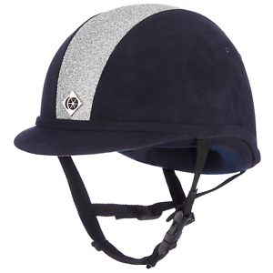 Charles Owen YR8 Equitación Sombrero-Azul Marino Plateado Brillante
