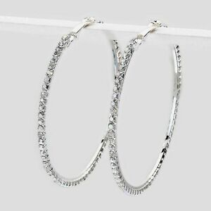 Clear-diamante-Hoop-earrings-sparkly-rhinestone-party-prom-clubbing-0346-SCL-L