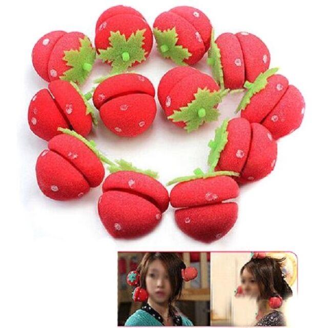 12x Girl Portable Strawberry Balls Hair Care DIY Soft Sponge Rollers Curlers -LJ