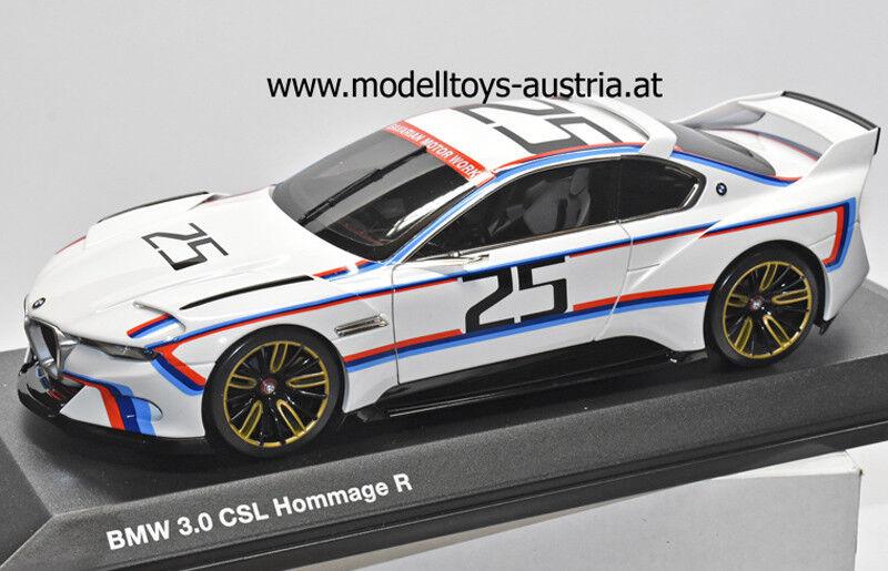 Venta al por mayor barato y de alta calidad. BMW 3.0 CSL R Hommage Hommage Hommage Concept Coche PEBBLE BEACH 25 weiss Schnitzer Streifen 1 18  mejor oferta