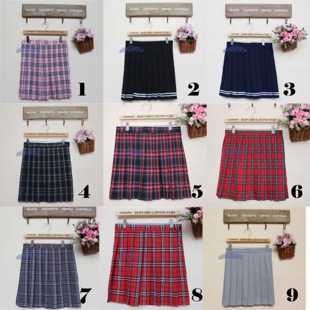 Pleated Mini Skirt School Girl Uniform Check Plaid Tartan Skater Cosplay Red New