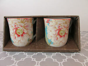 New 222 Fifth Marley Teal Floral Set of 2 Coffee Tea Mugs Cups | eBay