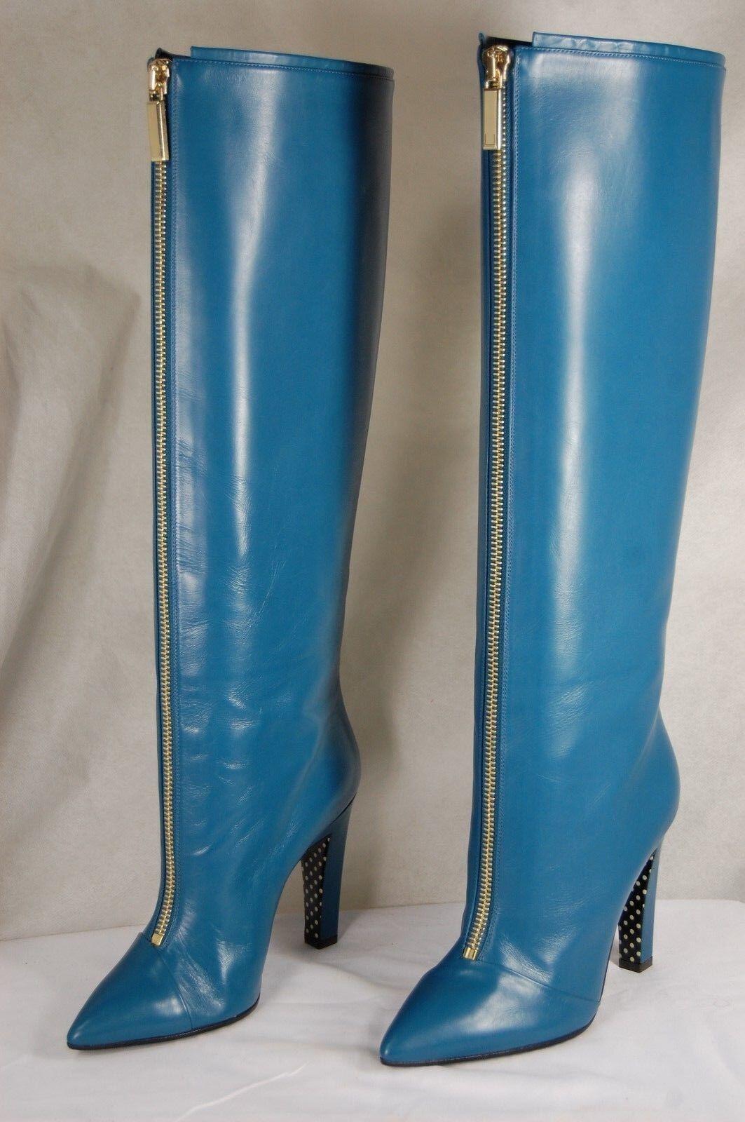 EMANUEL UNGARO MADE IN ITALY ITALY ITALY damen HIGH HEEL Blau LEATHER Stiefel EU 38 US 7.5 bf7f5d