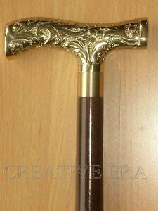 ANTIQUE-BRASS-VICTORIAN-BRASS-HANDLE-Vintage-cane-Walking-Stick-Cane-36-034-Long