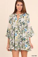 Umgee Anthropologie Blue Floral Bell Sleeve W/ Lace Detail Boho Dress Sz M-l