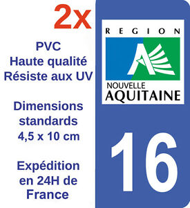 Popular Brand 16 Charente Departement Immatriculation 2 X Autocollants Sticker Autos Automobilia
