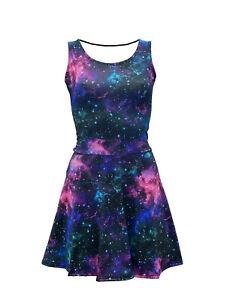 Para-mujer-azul-purpura-Galaxy-Cosmos-Estrellas-Planetas-Rockabilly-Vestido-Skater