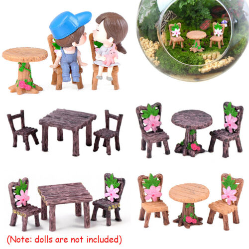 3pcs//Set Mini Miniature Table Chairs Fairy Garden Landscape Ornaments Decor