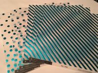My Minds Eye 12 X 12 Teals Vellum Paper W/ Foil Accents Stripe & Confetti 6 Pgs