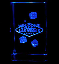 "3""3D Laser Etched Crystal Welcome to Las Vegas Sign Dices with Free Light Base"