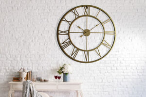 Walplus-Gold-Metal-Large-Iron-Clock-76cm-Decals-Hallway-Room-Home-Decorations