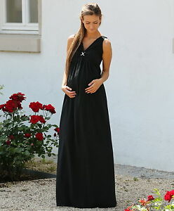 Maxi-Umstandskleid-Abendkleid-Chiffon-schwarz-34-36-38-40-42-44-46-NEU