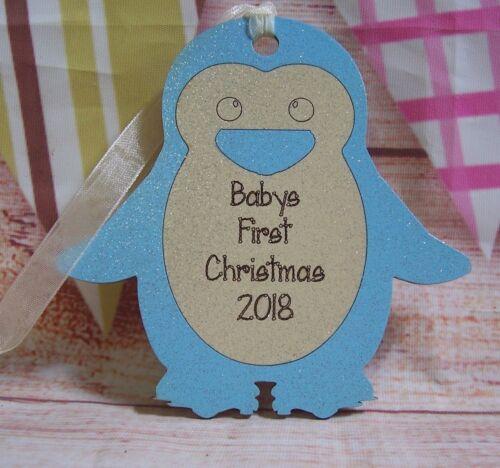 Personalised Baby/'s 1st Christmas Bauble penguin tree decoration keepsake
