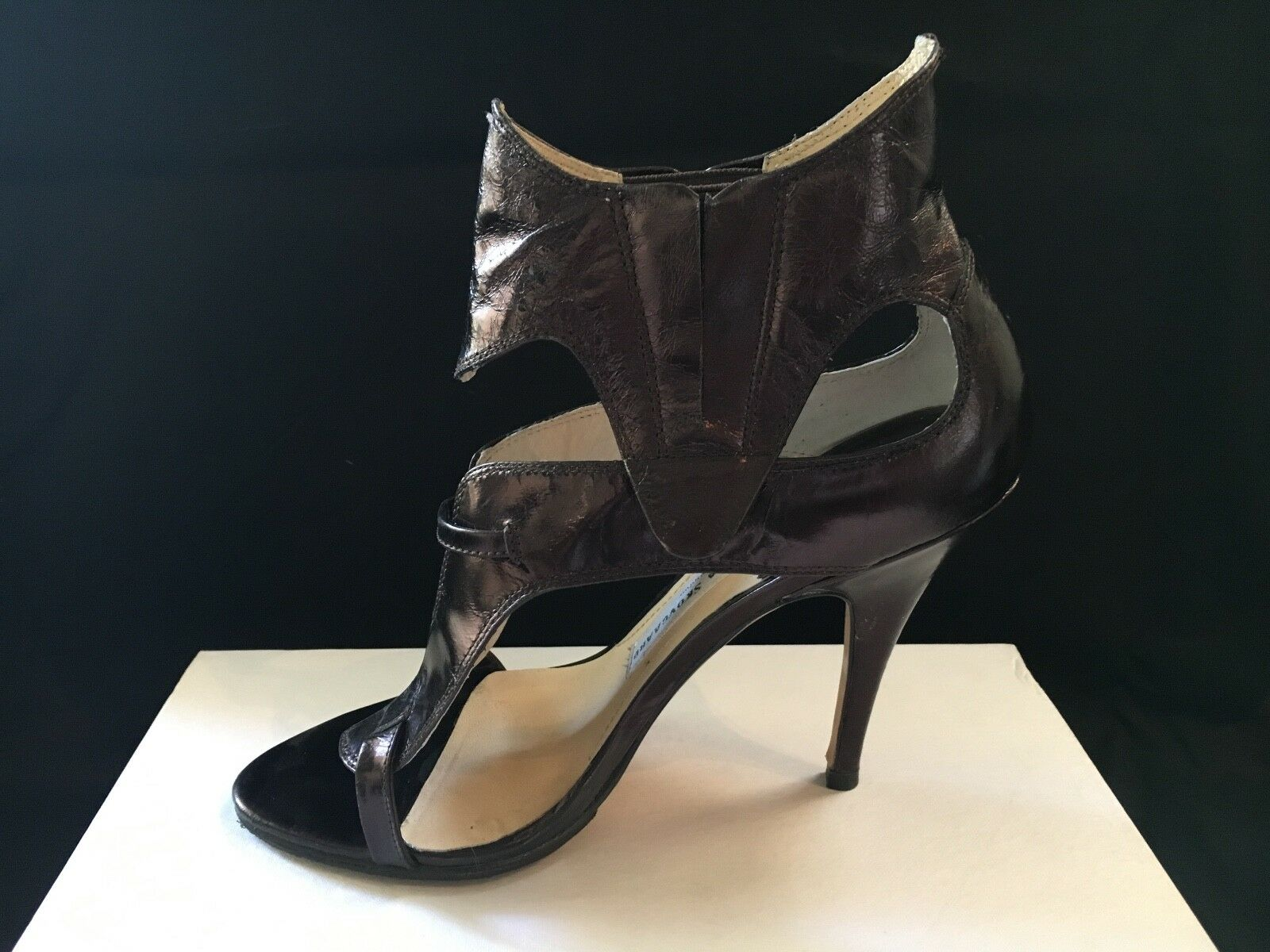 Sexy Camilla Skovgaard Brown Metallic Buckle Cut-out Sandals 39 9 box & dust bag