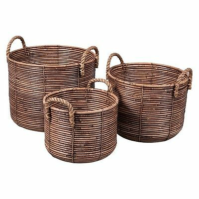 NEW LS Collections Round Rattan Basket with Jute Handles (Set of 3)