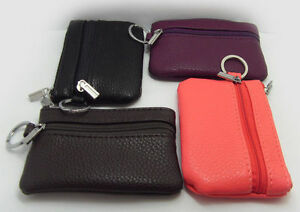 Small Mini Wallet Coin Purse Key Pouch Soft Leather 2 Zippered Section Key Chain