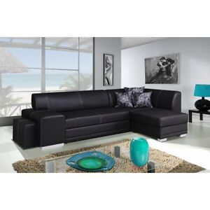 Corner-sofa-bed-black-faux-leather-left-right-FREE-pouf