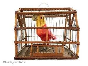 Antique-American-Folk-Art-Carved-Bird-in-Cage-Primitive-Figure-Early-20th-C