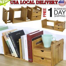 New Adjustable 2 Drawer Natural Bamboo Wood Desk Organizer Storage Bookshelf Us
