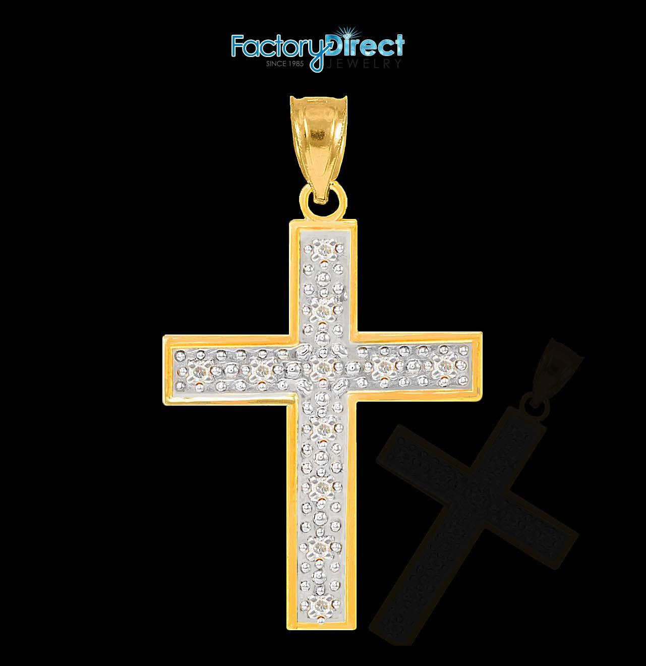 10k   14k gold Diamond Small Cross Pendant