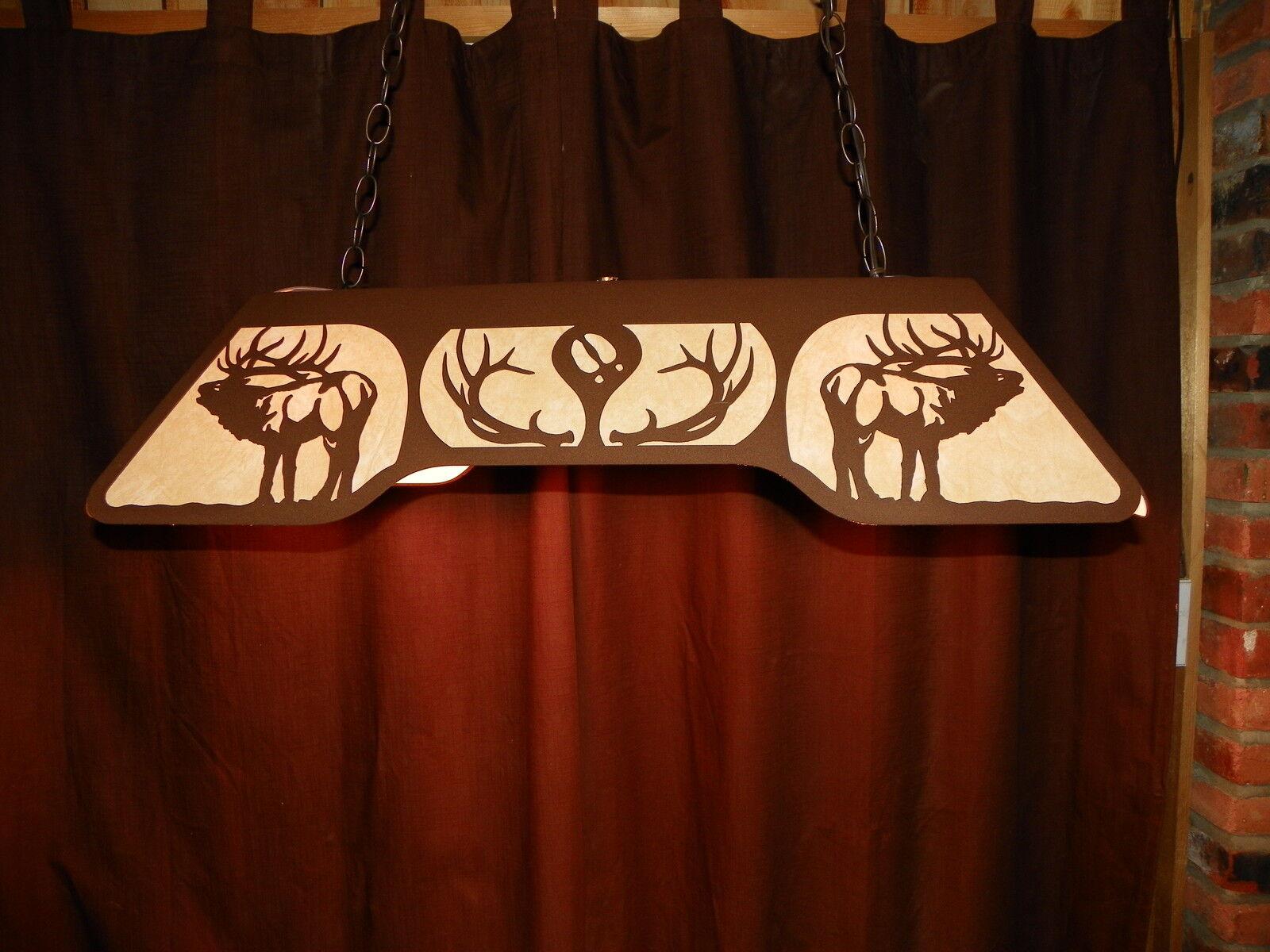 ELK Bugling 6 pt Antlers Laser cut steel Pool Table Light Lamp hunt cabin Decor