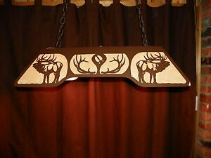 ELK Bugling Pt Antlers Laser Cut Steel Pool Table Light Lamp Hunt - Antler pool table light