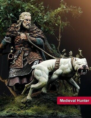 Scale 75 Medieval Hunter with dog 75mm Unpainted metal Kit