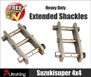 Details about Hilux Extended Shackles Toyota Greasable Pin Solid Axle Rear  Raised Suspension