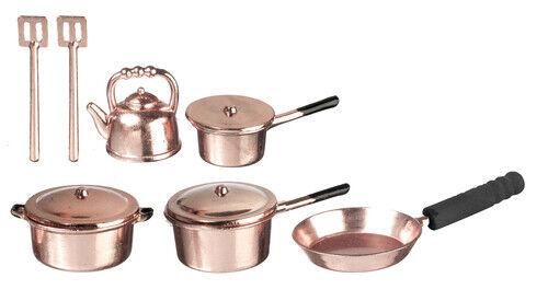 1//12Copper Cooking Pan Pot Dollhouse Miniature Kitchen Cookware Accessories SALE