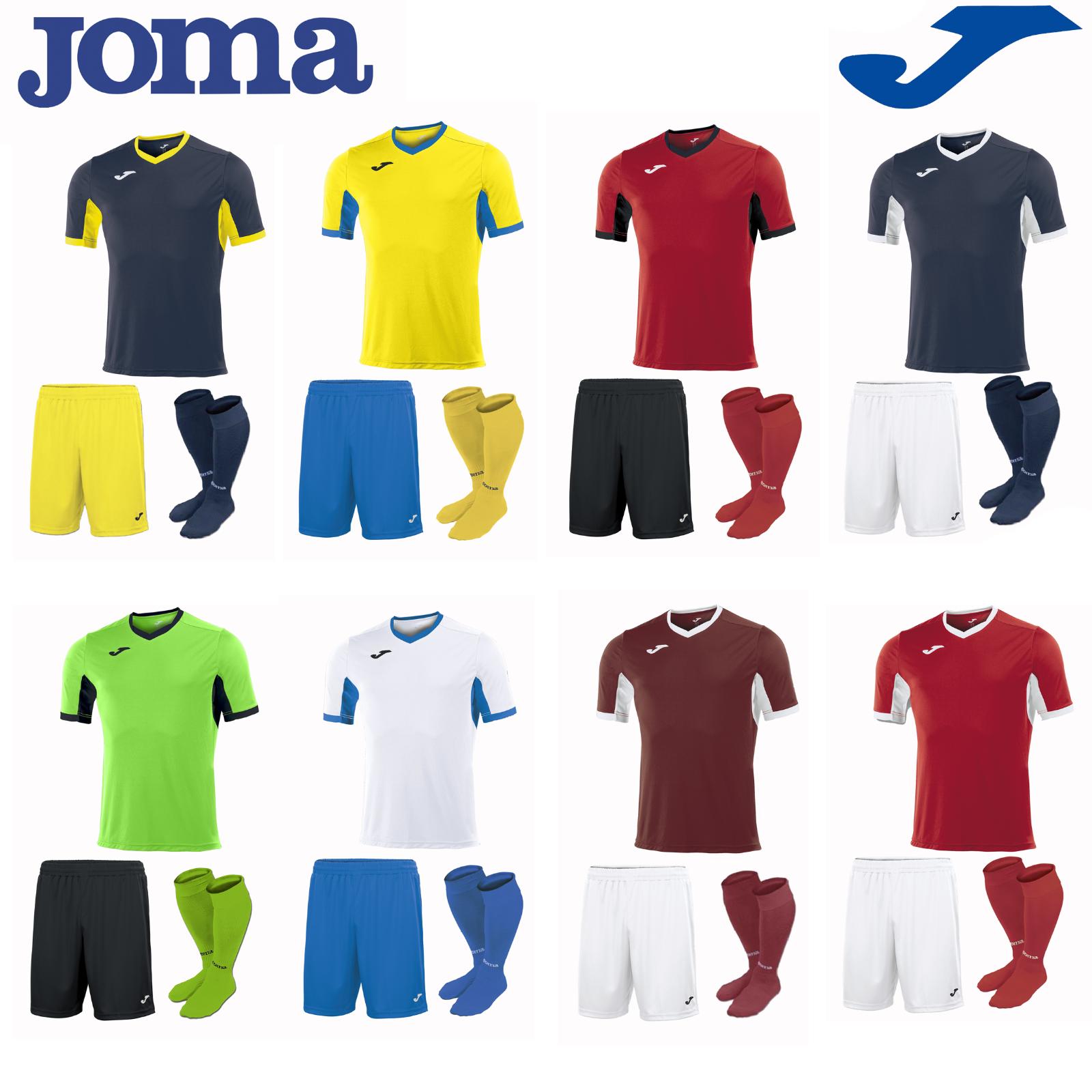 JOMA Completo Calcio Kit del Team Sports Striscia Calze da Uomo Camicie Di Formazione Pantaloncini Top