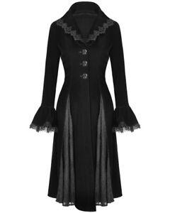 Dark-In-Love-Womens-Gothic-Frock-Jacket-Coat-Black-Velvet-Victorian-Steampunk