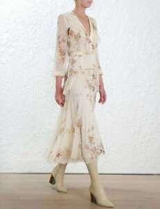 2018-New-Floral-100-Silk-Print-Falbala-V-Neck-Maxi-Dress-Sz