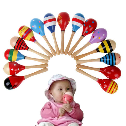 Cute Baby Kids Sound Music Gift Toddler Rattle Musical Wooden Colorful Toys Hg