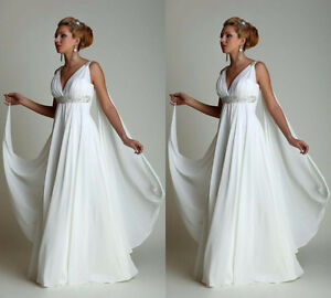 Beach-Maternity-Greek-Wedding-Dress-Plus-Size-Bridal-Gown-High-Waist-Pregnant