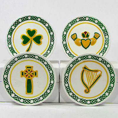 "MWW Market IRISH 4.5"" Plate Set 4Pc Embossed Ireland Celtic Cross Harp Claddagh"