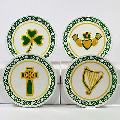 "MWW Market IRISH 4.5"" Plate Set 4Pc Embossed Ireland Celtic Cross Harp Claddagh"