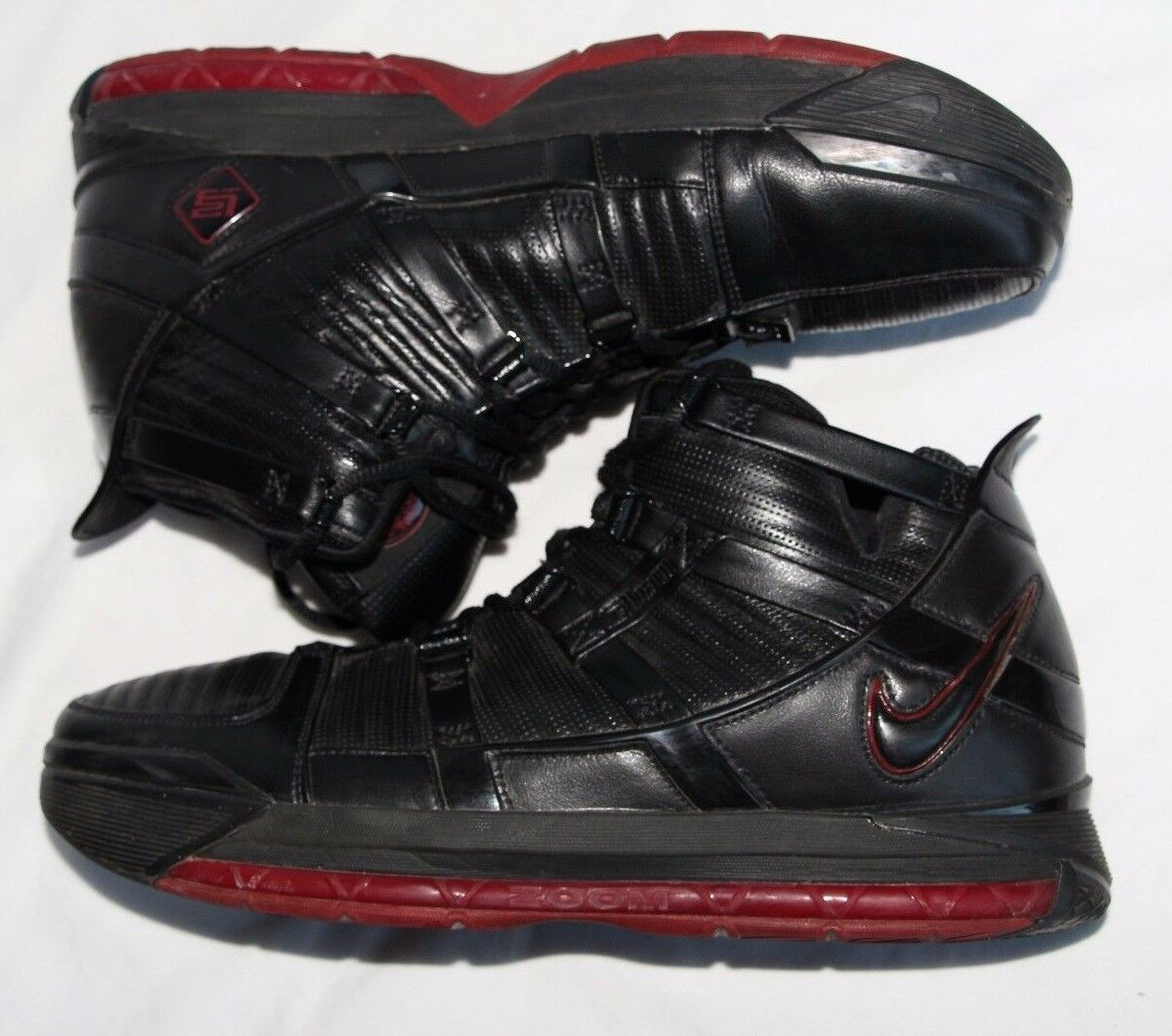 Nike Air Zoom Lebron III Black Leather High Top Basketball Men's U.S. 11.5 Wild casual shoes